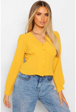 Mustard yellow Woven Waist Detail Blouse