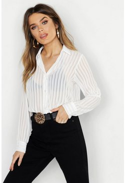 Ivory white Woven Burnt Out Stripe Shirt
