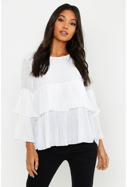 Ivory Woven Pleated Smock Top