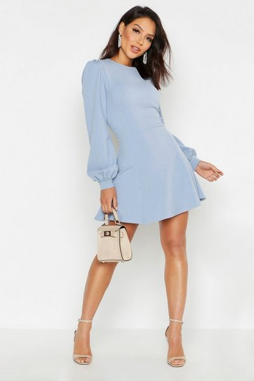 Dusty blue blue Bust Detail Blouson Sleeve Skater Dress