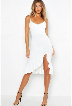 Ivory white Strappy Frill Hem Midi Dress