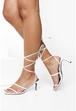 White Skinny Strap Low Heel Sandals