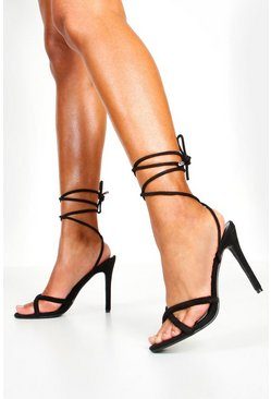 Black Wrap Strap Tubular Heel Sandals