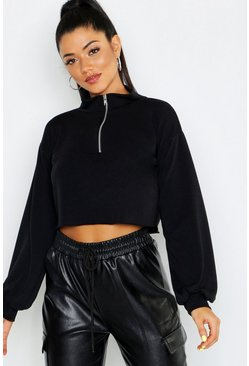 Black Zip Detail High Neck Sweat Top