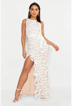 Ivory Lace Ruffle Split Maxi Dress