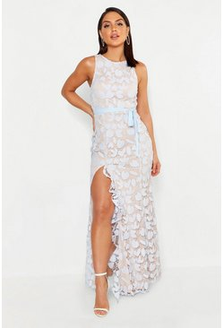 Sky blue Lace Ruffle Split Maxi Dress
