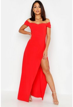 Rood red Off-The-Shoulder Maxi-Jurk