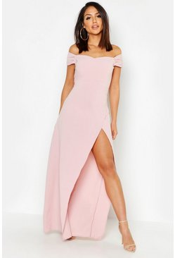Rose pink Off The Shoulder Maxi Dress
