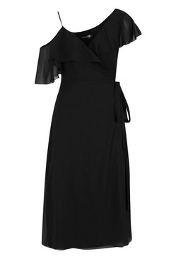 Black Chiffon Cold Shoulder Wrap Midi Skater Dress