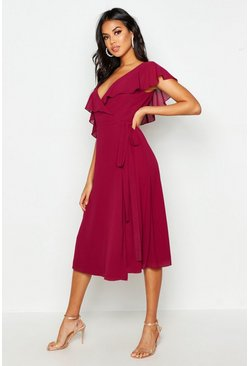 Raspberry pink Chiffon Cold Shoulder Wrap Midi Skater Dress