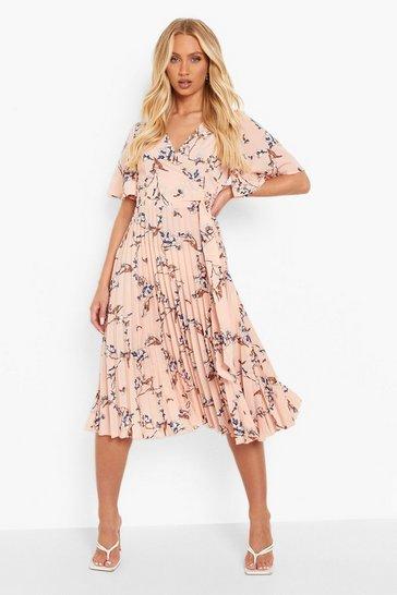 Blush pink Floral Print Pleated Midi Skater Dress