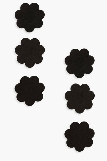 Black Satin 3 Pack Floral Nipple Covers