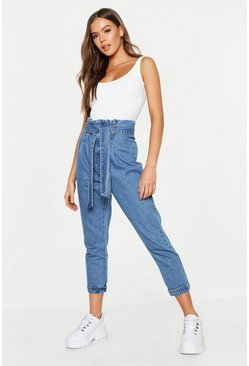 Mid blue blue High Rise Paper Bag Waist Tapered Mom Jean
