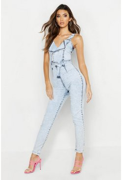 Light blue blue Belted Zip Acid Wash Denim Boilersuit