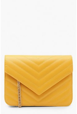Mustard Structured Quilt Cross Body Bag
