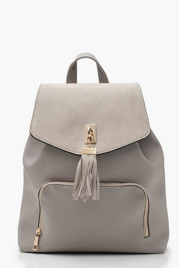 Grey Suedette Tassel Trim Backpack