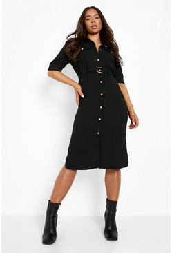 Black Puff Sleeve Utility Midi Shirt Dress