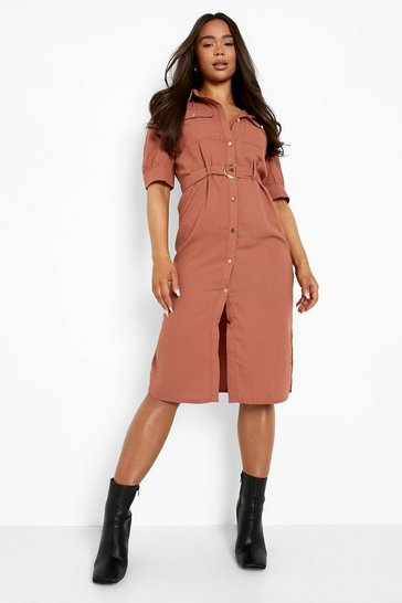 Rose pink Puff Sleeve Utility Midi Shirt Dress