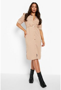 Sand beige Puff Sleeve Utility Midi Shirt Dress