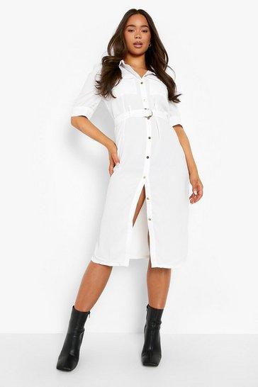 White Puff Sleeve Utility Midi Shirt Dress