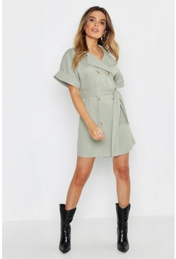 Sage green Oversized Button Front Shirt Dress
