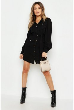 Black Utility Pocket Detail Shirt Dress