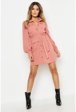 Rose pink Utility Pocket Detail Shirt Dress