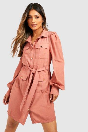Rose pink Utility Pocket Detail Shirt Dress