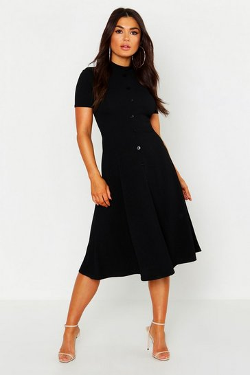 Black High Neck Button Detail Skater Dress