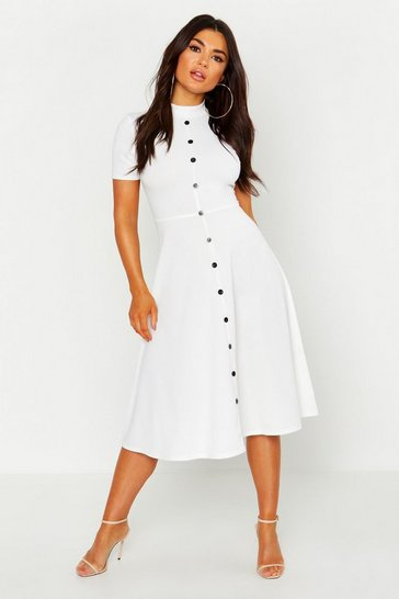 Ivory white High Neck Button Detail Skater Dress