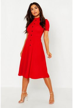 Red High Neck Button Detail Skater Dress