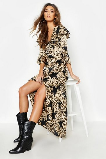 Black Star Leopard Print Ruffle Hem Maxi Dress
