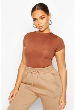Chocolate brown Basic Cap Sleeve Rib Bodysuit