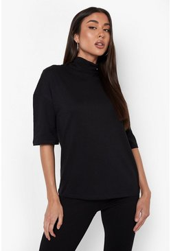 Black Basic Oversized High Neck 3/4 Sleeve T-Shirt
