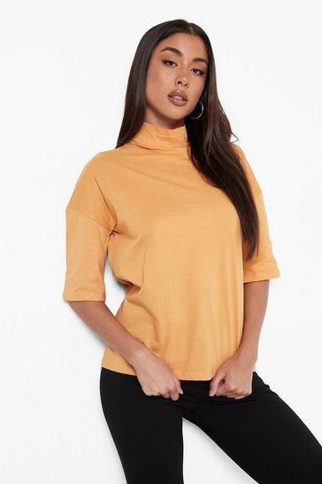 Camel beige Beige Basic Oversized High Neck 3/4 Sleeve T-Shirt