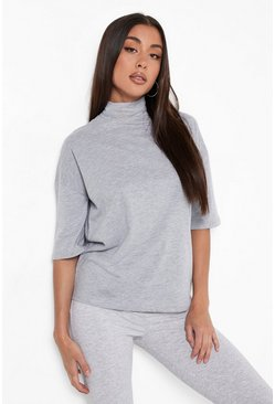 Grey marl Basic Oversized High Neck 3/4 Sleeve T-Shirt
