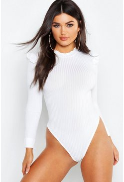Ivory white Ruffle Neck + Shoulder Bodysuit