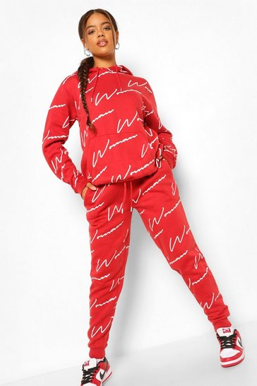 Berry red Woman All Over Print Tracksuit