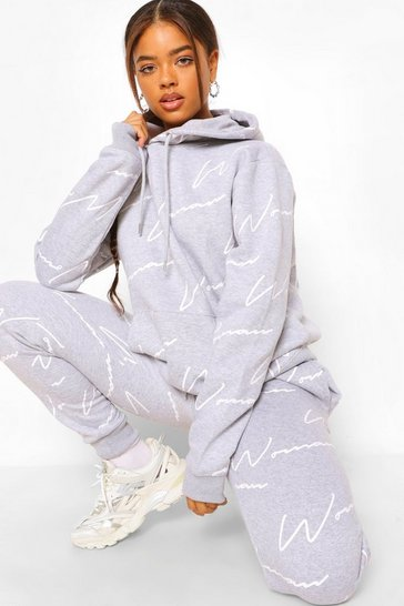 Grey marl grey Woman All Over Print Tracksuit