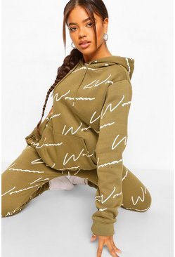 Khaki Woman All Over Print Tracksuit