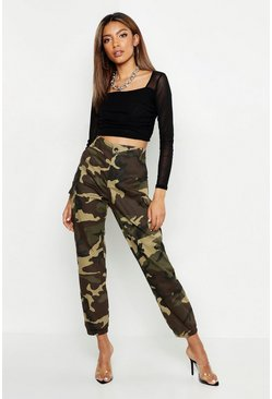 Khaki High Waist Camo Cargo Pants