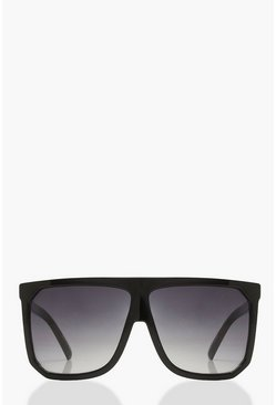 Black Flat Top Oversized Sunglasses