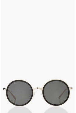 Gold metallic Oversized Round Sunglasses