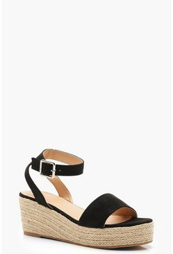 Black Low 2 Part Wedges