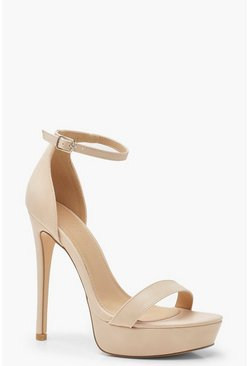 Nude High Platform 2 Part Heels
