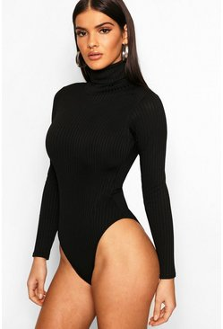 Black Jumbo Rib Roll Neck Body