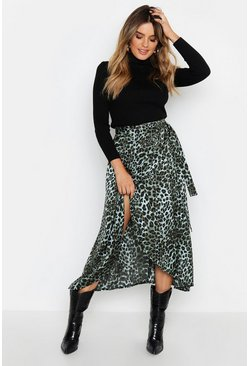 Satin Green Leopard Wrap Midi Skirt