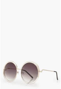 Dark brown brown Cut Out Frame Round Sunglasses