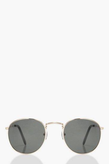 Black Classic Round Retro Sunglasses