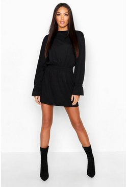Black Shirred Waist T-Shirt Dress